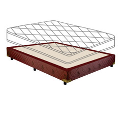 Sommier sin colchón Gani Bordeaux 1,90 x 1,40 m